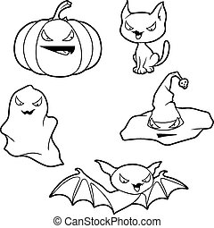 Vector collection of Halloween-related objects and creatures...