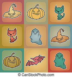 Vector background of Halloween-related objects and creatures