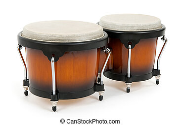 Bongos on white background. Latin percussion instrument.