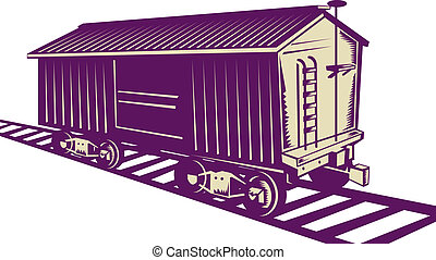 Boxcar of a cargo train - illustration of a Boxcar of a...