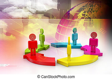 3d people standing on the colourful arrows