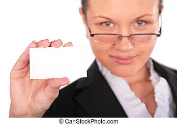 beautiful woman with card for text
