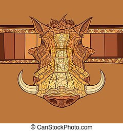 Decorative warthog head with african ornament Vector...