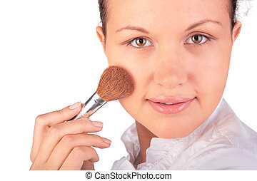 make up. woman with brush