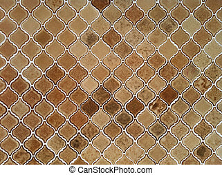 Old orange brown tiles floor pattern