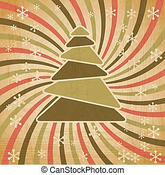 Vector vintage Christmas background in retro style