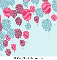 Card with flying balloons in retro style