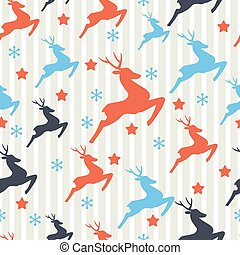 Christmas pattern with deers. Seamless retro pattern.