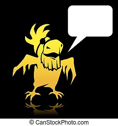 Angry cartoon yellow parrot pirate with space for text