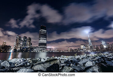 Night panorama of New York city