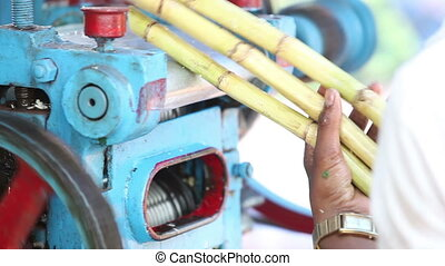 make reed juice with special machine closeup - indian guy...