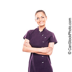 Young, happy and attractive girl in a uniform isolated on...