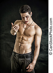 Young Vampire Man Shirtless, Gesturing to Camera - Portrait...