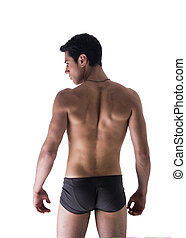 Back of handsome young man in underwear isolated on white -...