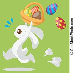 Easter Bunny with basket - Running bunny with Easter egg and...