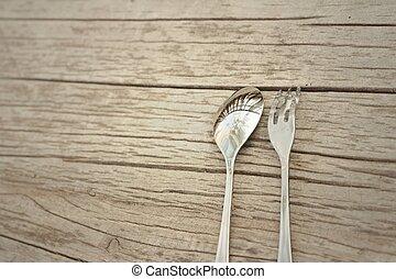 Cuchara, y, tenedor, en, Un, Plano de fondo, de,...