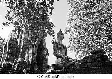 Black and white Buddha ancient statue in Ayudhaya Thailand