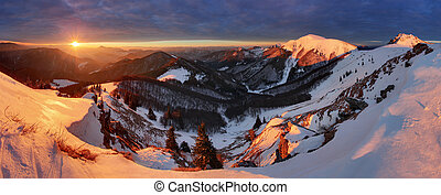Winter mountains landscape at sunrise, panorama