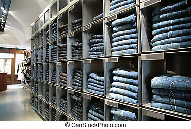 cells with jeans in shop