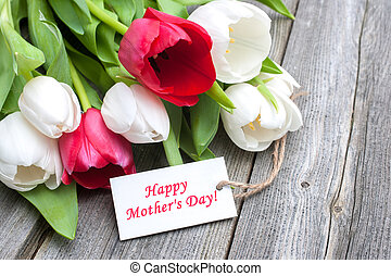 Mother's day - Tulips with tag and text for mother's day on...