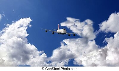 Airplane flying over clouds, 3d ani - Passenger plane flying...