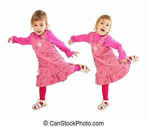 poco, niña, rosa, Vestido, bailando