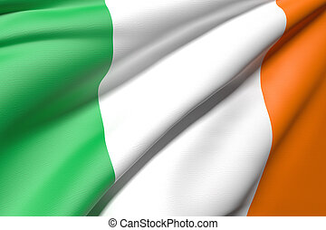 old ireland flag - 3d rendering of an ireland flag