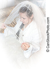 Bridal veil - Portrait of the bride in a wedding dress