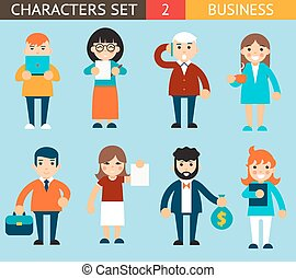 Business Male and Female Characters with Accessories Expressions Icons Set Flat Design Concept Vector Illustration