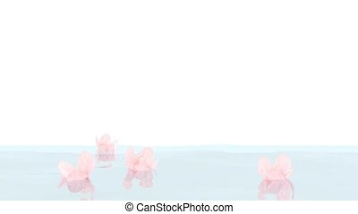 flowers in a water - pink flowers floating in a pure wavy...