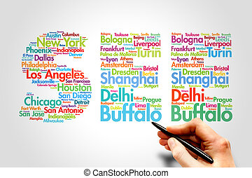 SEE, travel concep - SEE, cities names word cloud travel...