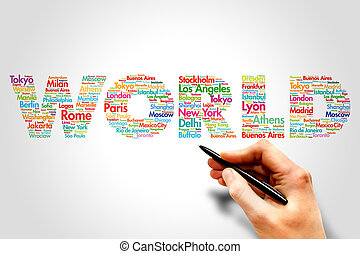 WORLD, travel concept - WORLD, cities names word cloud...