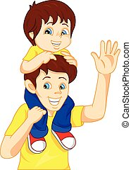 Father giving his son piggyback - illustration of Father...