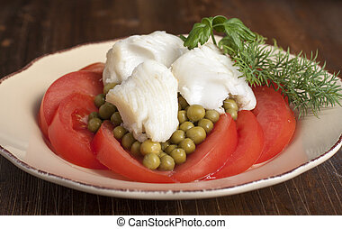 Halibut fillet - Halibut fillet with tomatoes and canned...