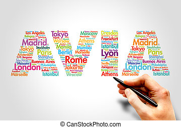 AVIA, travel concept - AVIA, cities names word cloud travel...