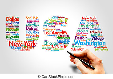 USA, travel concept - USA, cities names word cloud travel...