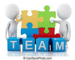 3d white people work together. Team concept - 3d image....