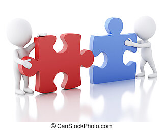3d white people work team assemble piece of a puzzle. - 3d...