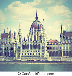 Budapest - The Parliament in Budapest, Hungary. Retro style...