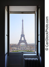 Paris - Open window and Eiffel Tower behind