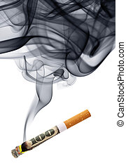 Money for smoke - cigarette stub with smoke isolated over...