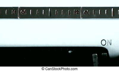 Typewriter. Typing text: on my way - Typewriting on an old...