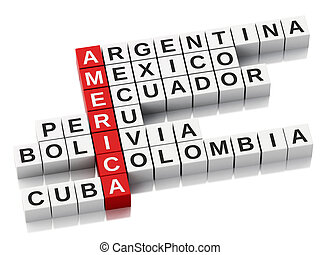 3d America concept. Crossword with letters. Isolated white...