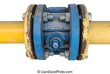metallic pipe - Pipes and Valves on white background