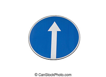 left direction sign - Blue Road Sign With Arrow, Isolated on...