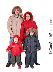 family in winter clothing