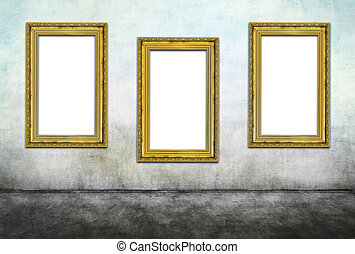 Triptych - Three vertical golden frames on dirty wall