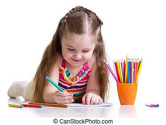 Happy little girl drawing with felt-tip pen in nursery