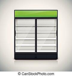 Double fridge with glass door.