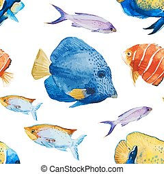 Nice fishes - Beautiful vector pattern with nice watercolor...